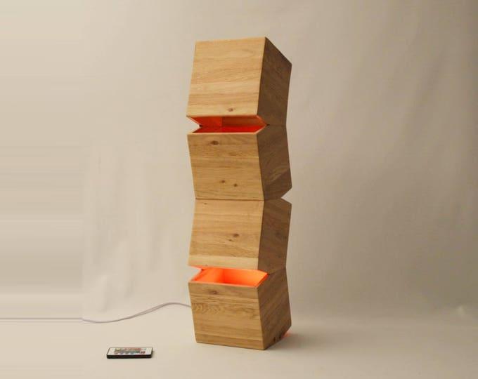 Big wooden design lamp, style modern, original, unique, made en FRANCE, color LED, remote controled,  LIGHTTALL by Lune et Animo
