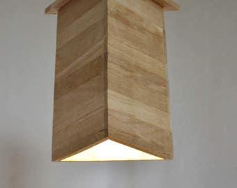 Design pendant lamp in oak wood ,Triangle wooden design pendant lamp, Heartwar by Lune et Animo