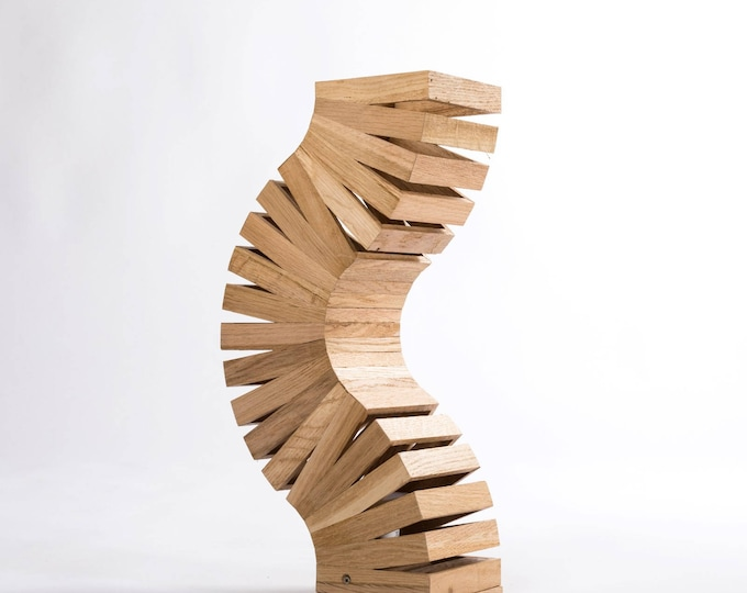 Wooden design table lamp. Unique design twisted like a spine 'Backbone'