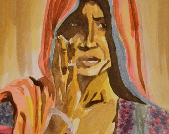 Watercolor ethnic Indian woman Abdhisarika