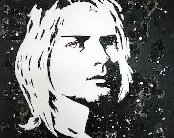 Kurt Cobain, Wall decoration, Black and white portrait