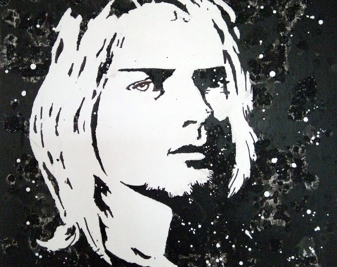 Kurt Cobain, Wall decoration, Black and white portrait