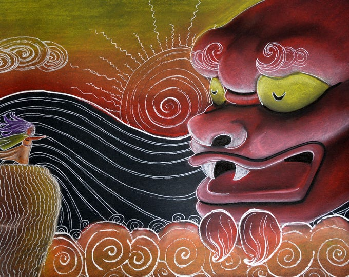 Illustration mural decoration 'Fire Dragon'