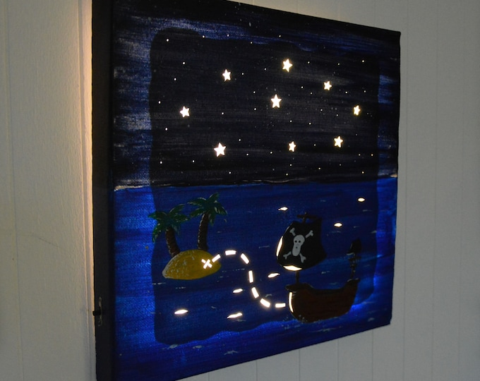 Led canvas painting for children room 'Pirate ship'