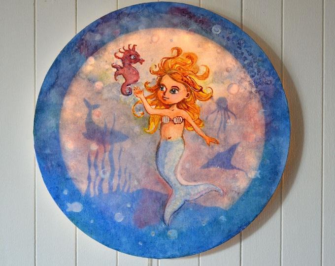 Led round canvas art for children's room decoration 'Mermaid'