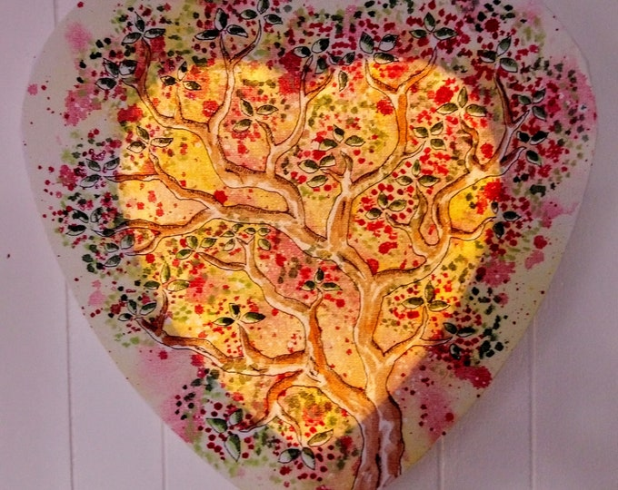 Tree of life, heart shape, with LED, wall decoration