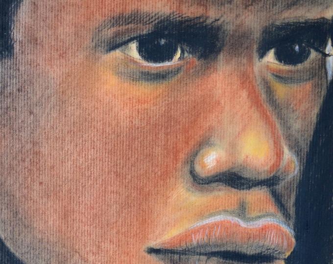 Ethnic portrait with pencils 'Slave'