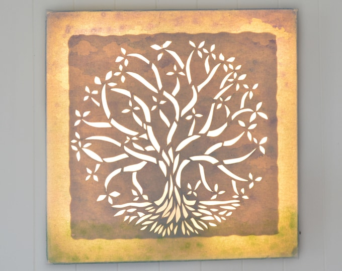 Tree of life, Wall decoration, Led canvas art