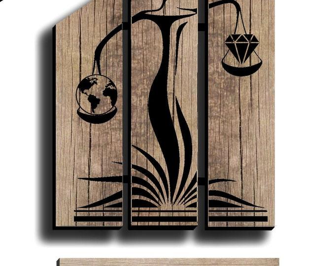 LISTING PRIVE Lampe design en bois de chêne recyclé 30cm avec plaque avec votre logo et nom pyrogravé