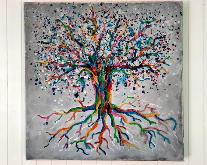 Multicolored and embossed tree of life