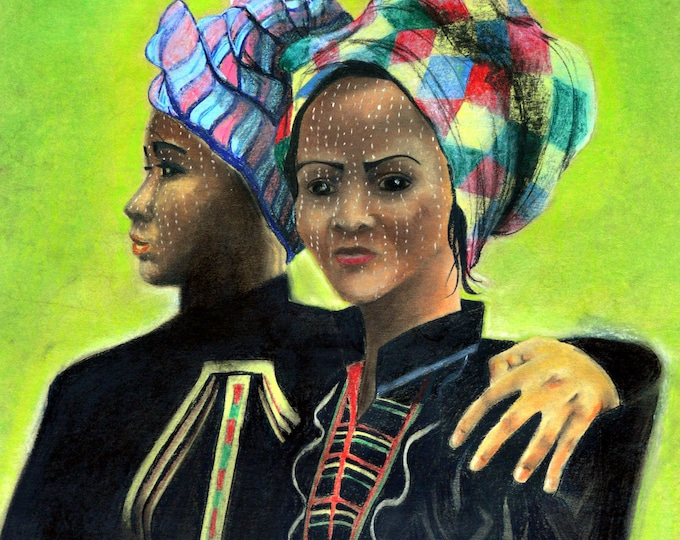 Ethnic 'Burmese sisters' portrait, drawing with pastels