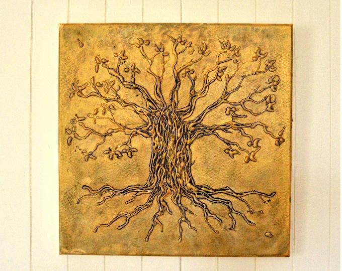 Tree of life, acrylic painting, metallic effect