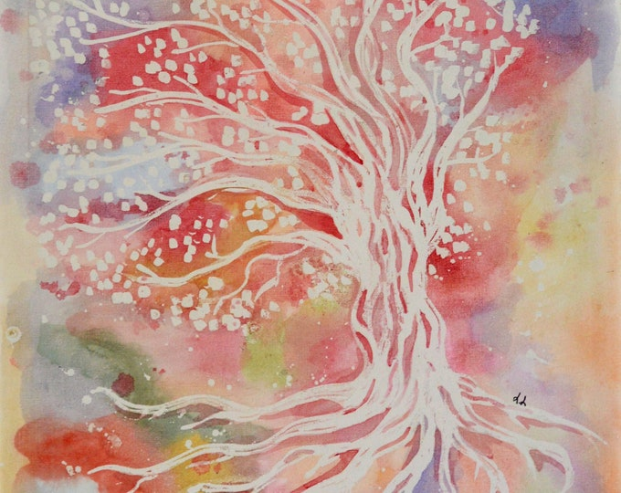 Canvas 'Tree of life on rainbow background', mural decoration