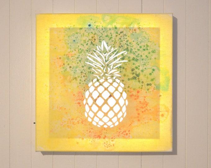 Led art cut canvas, mural decoration, 'Pineappale'