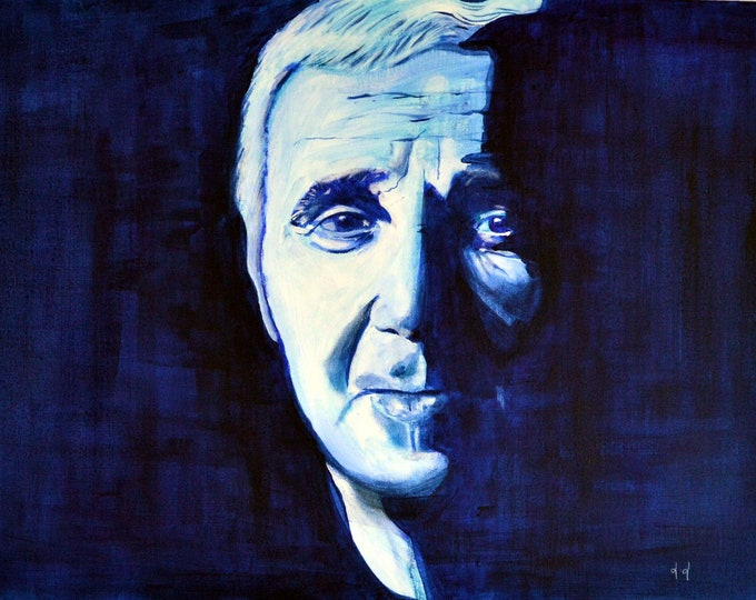 Acrylic portrait of Charles Aznavour