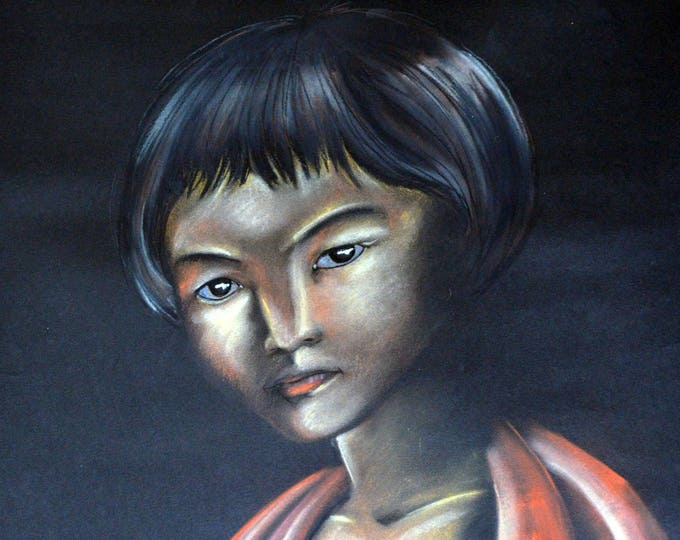 Ethnic portrait 'Okya from Japan', drawing with dry pastels