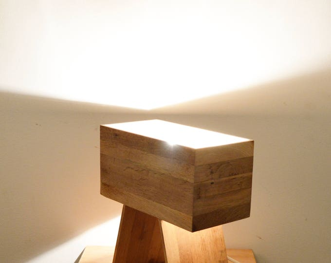 Wooden design lamp, table lamp, rectangulair design.  Made from recycled oak flooring wood, Drillin by Lune et Animo
