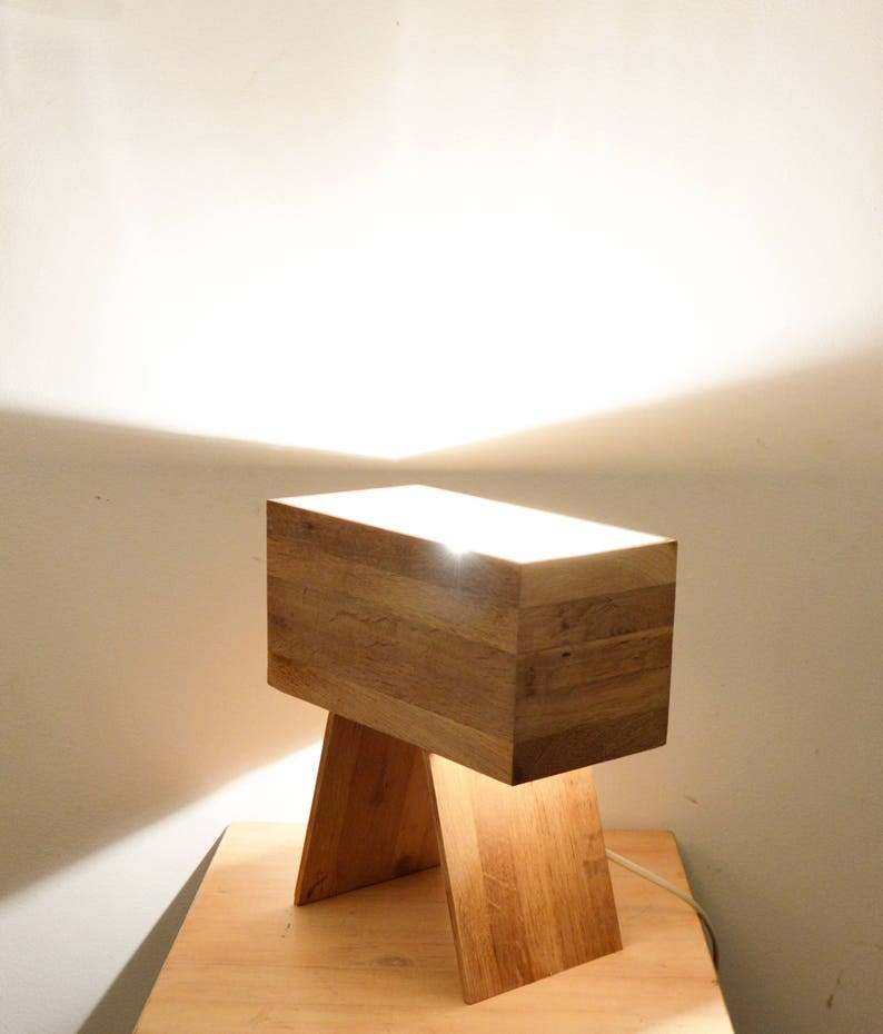 rectangulair design table lamp Made from recycled oak flooring wood Drillin by Lune et Animo Wooden design lamp