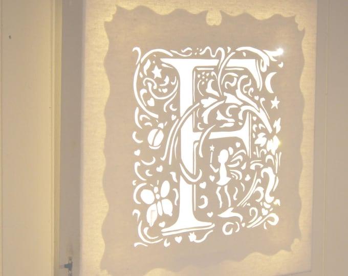 Led cut canvas art for children's bedroom 'Letter'