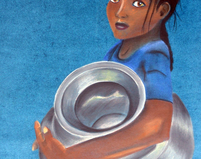 Portrait drawing with pastels, 'young Indian ethnic carrier of water'