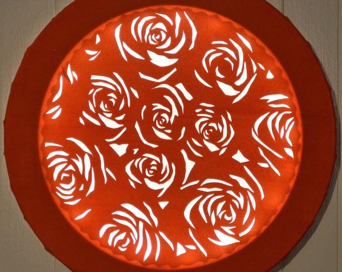 Led cut round canvas art 'Roses bouquet'