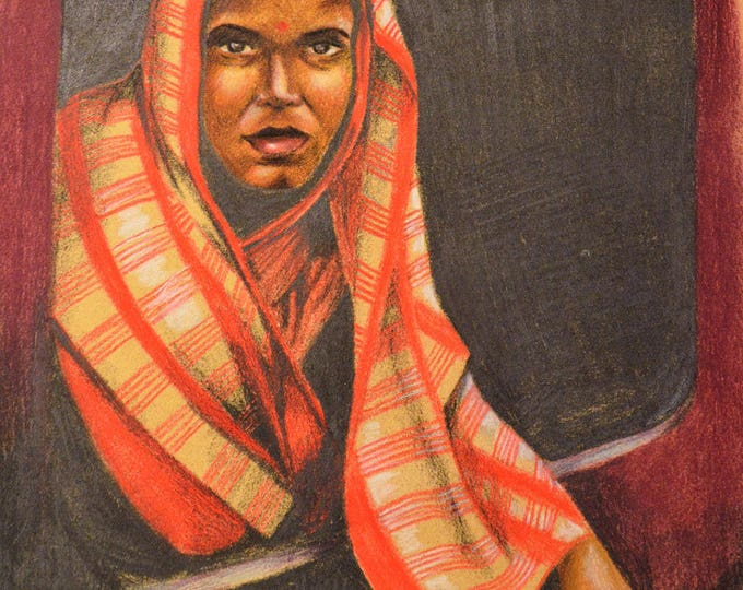 Ethnic 'Young Indian woman on the train' pencil portrait