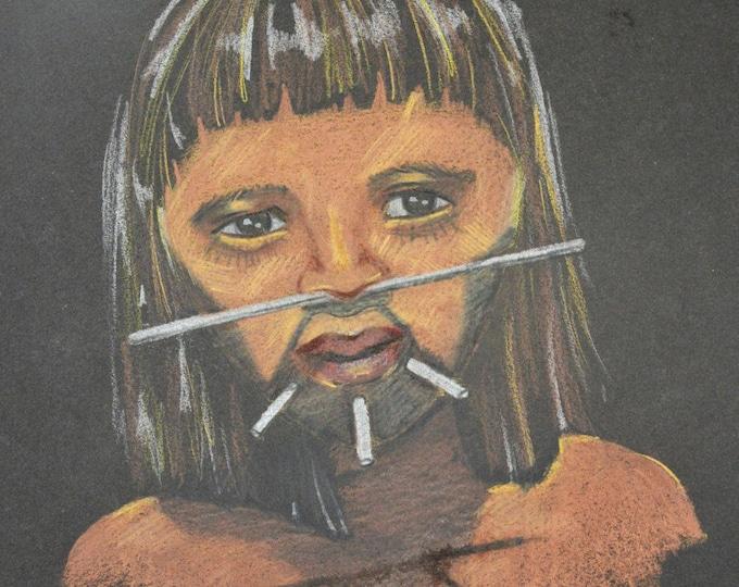 Ethnic 'Boy in the Amazon' pencil portrait
