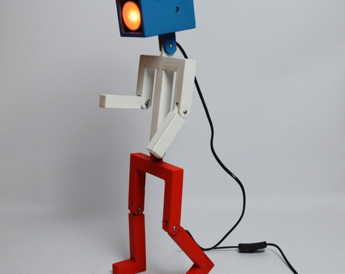 Wooden articulated design lamp in the form of a personage, recyled oak wood, blue/white/red version