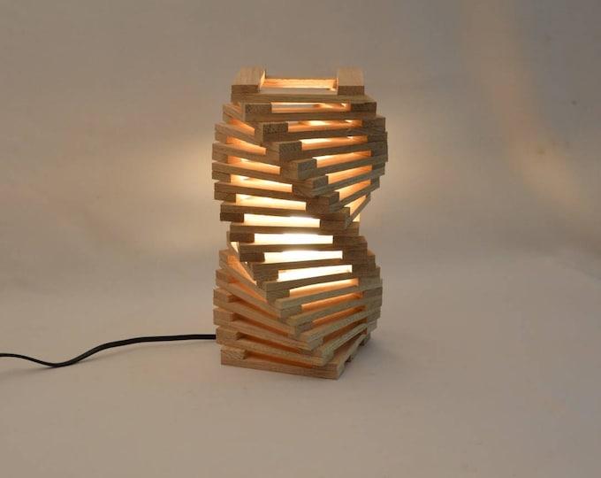 Design table lamp in oak wood, twisted modern desk lamp, Rodron by Lune et Animo