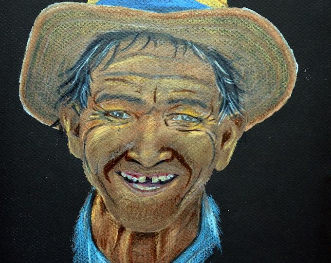 Ethnic portrait with pencils 'Macelo from Venezuela'