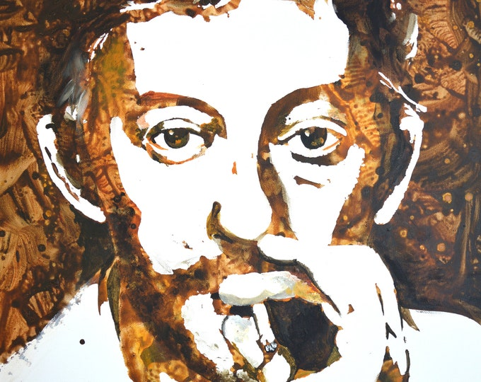 Portrait of Serge Gainsbourg, original acrylic and coffee painting