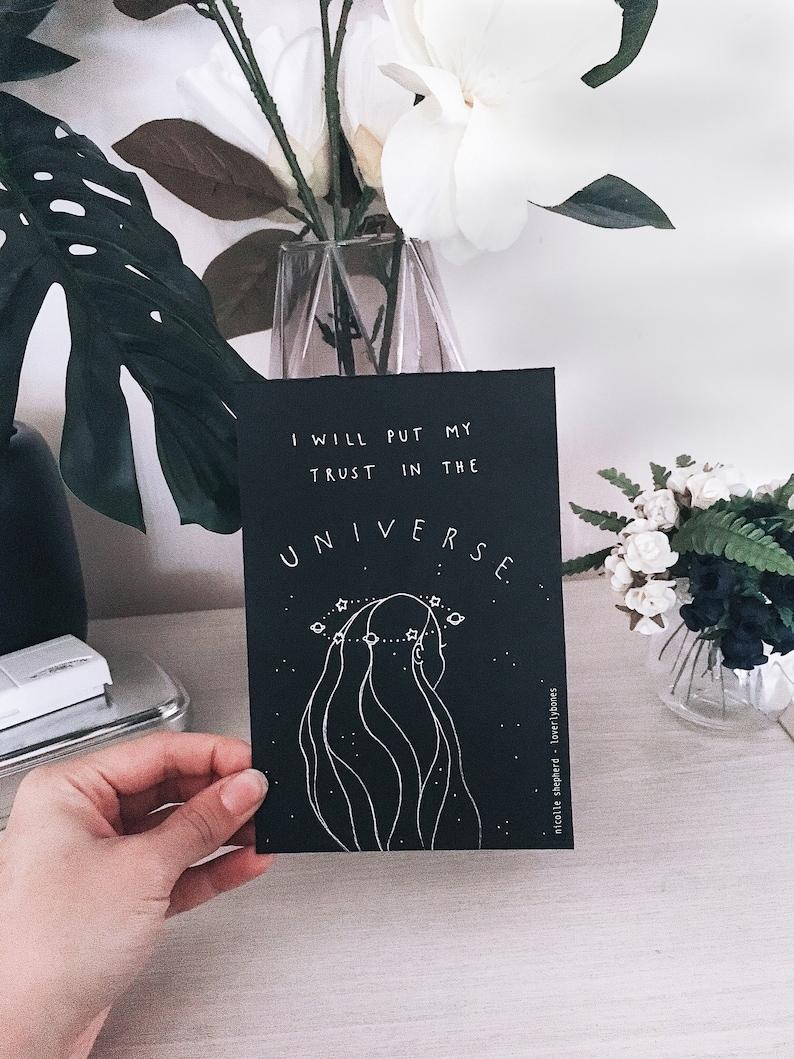 Universe Print  Affirmation Print Card Illustration image 0