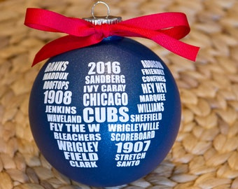 "2017 Cubs Celebration W Ornament 4"", Rally Towel, Wrigley Field, Fly The W, Christmas Ornament, Chicago Cubs Roster, World Series Champions"