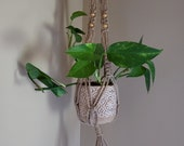 Macrame Hanging Planter with Beads - Bohemian Decor - Natural Housewarming gift