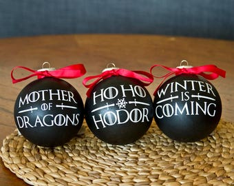 Game of Thrones Ornaments - 3 Pack - Winter is Coming, Ho Ho Hodor, Mother of Dragons