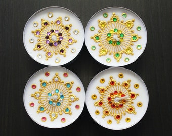 Set of 6 Jumbo Henna Tealights (More Colors Available) - Henna Inspired Home/Wedding Decor and Favors/Christmas Gifts