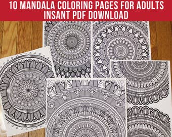 10 Mandala Coloring Pages for Adults - Instant PDF Download