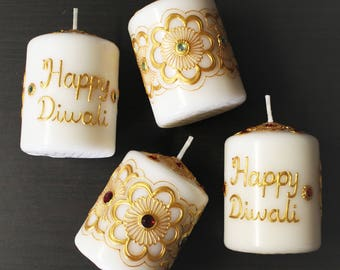 Set of 6 Diwali Henna Candles - Henna Inspired Home/Diwali Decor and Favors/Diwali Gifts