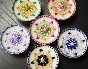 Set of 6 Beaded Henna Tealight Candles (More Colors Available) - Henna Inspired Home/Wedding Decor and Favors