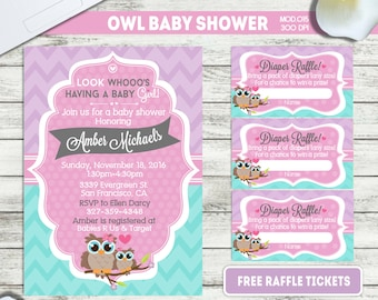 PRINTABLE or PRINTED|| Little Owl|| Baby shower invitation|| FREE raffle tickets|| Any occasion, any wording!!
