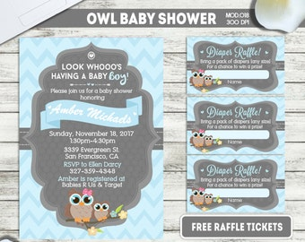 PRINTABLE or PRINTED || Little Owl|| Baby shower invitation|| FREE raffle tickets|| Any occasion, any wording!!
