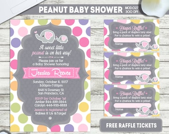PRINTABLE or PRINTED || Little peanut|| Baby shower invitation|| FREE raffle tickets|| Any occasion, any wording!!