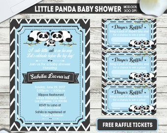 PRINTABLE or PRINTED || Little panda|| Baby shower invitation|| FREE raffle tickets|| Any occasion, any wording!!