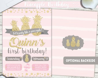PRINTABLE or PRINTED || Pineapple Birthday || Pineapple Invitation|| FREE Thank you cards|| Optional Backside|| Any occasion, any wording!!