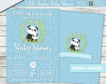 PRINTABLE or PRINTED || Little panda|| Baby shower invitation|| FREE raffle tickets|| Optional backside|| Any occasion, any wording!!