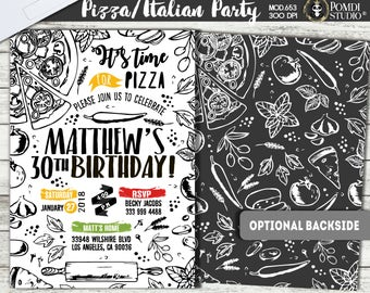 PRINTABLE or PRINTED || Pizza Party|| Italian/Restaurant Invitation|| Adult/ Formal Birthday|| Optional Backside|| Any occasion, any wording