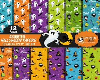INSTANT DOWNLOAD|| Halloween Papers ||12x12 ||3600x3600l|12 papers|| Printable Patterns||