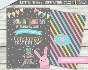 PRINTABLE or PRINTED || Easter Bunny Birthday|| Girl Birthday Invitation|| FREE Thank you cards|| Any age, any occasion, any wording!!