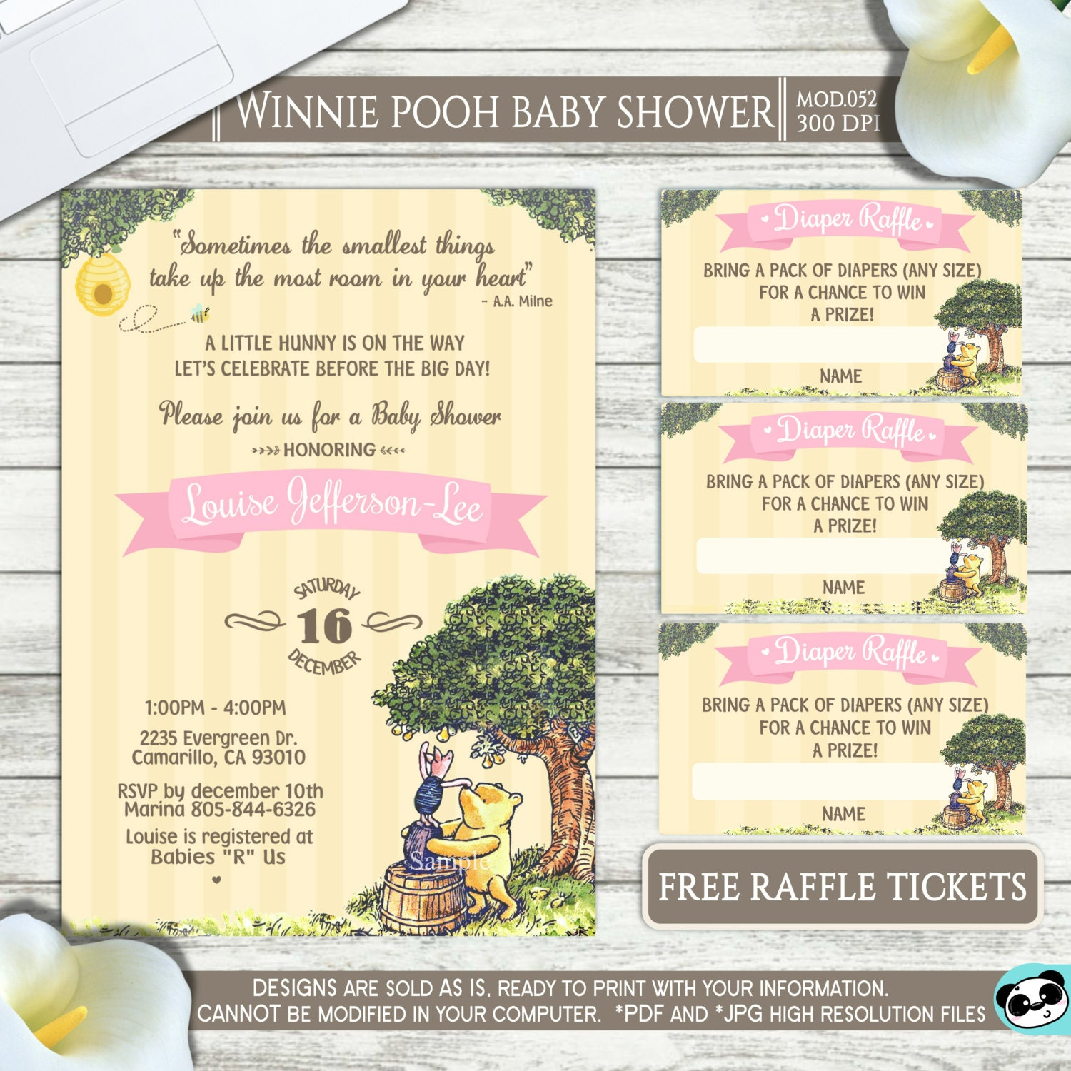 PRINTABLE or PRINTED Classic Winnie Pooh Baby shower | Etsy