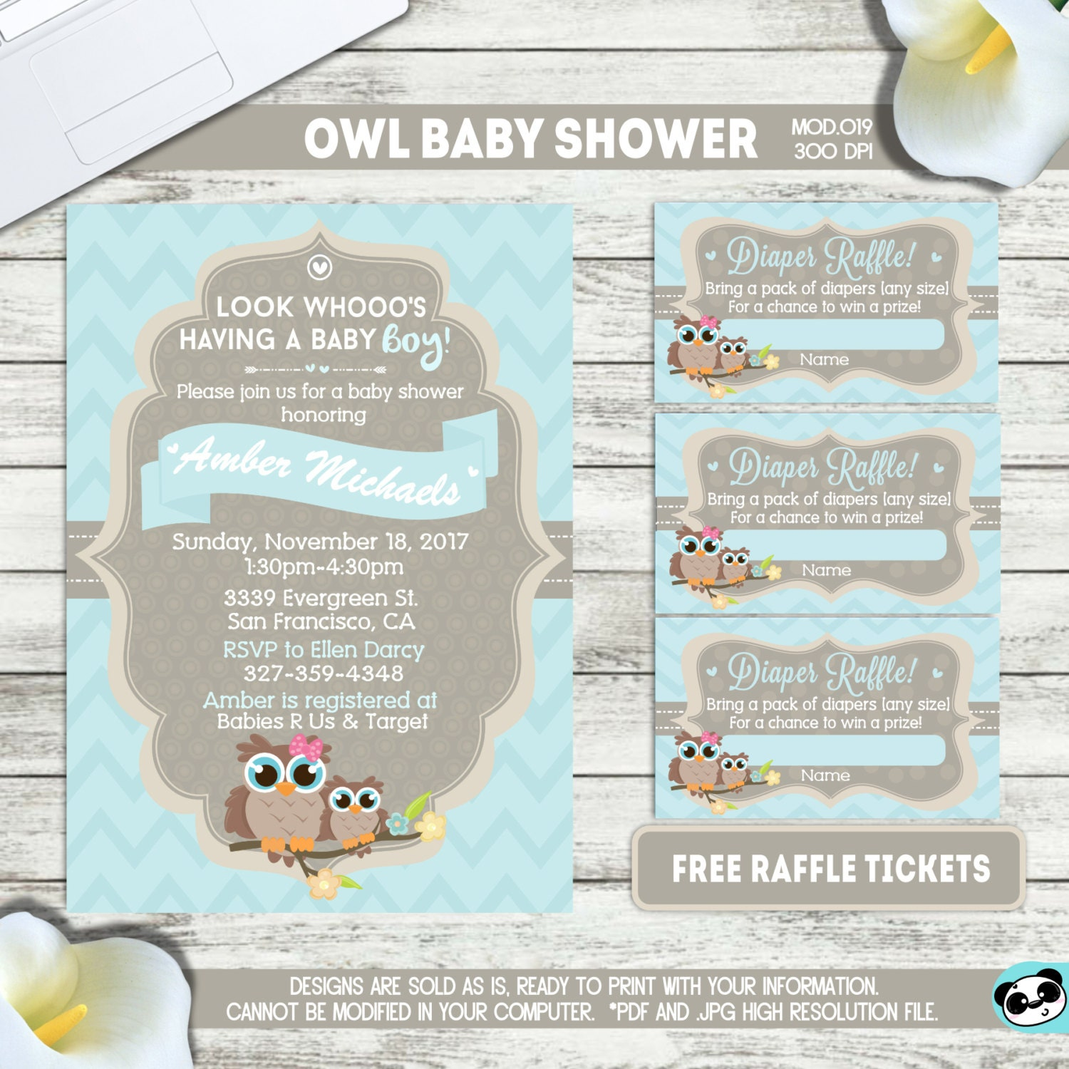 PRINTABLE or PRINTED Little Owl Baby shower invitation | Etsy